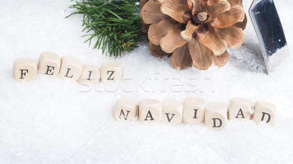 Feliz Navidad in snow Stock photo © andreasberheide