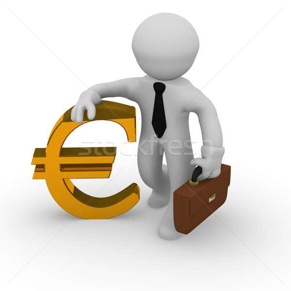 Altın euro imzalamak iş adamı beyaz arka plan Stok fotoğraf © andreasberheide