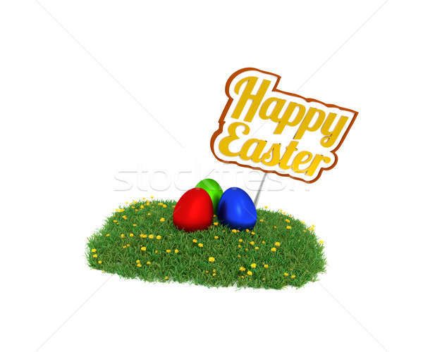 Vrolijk pasen teken gekleurde eieren groen gras 3D Stockfoto © andreasberheide
