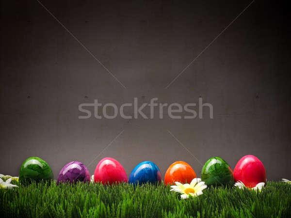Renkli paskalya yumurtası çim gıda turuncu Stok fotoğraf © andreasberheide