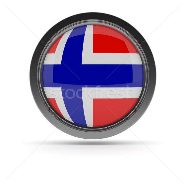 Acél kitűző norvég zászló fehér 3D Stock fotó © andreasberheide