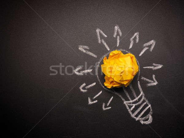 çok fikirler kâğıt ampul iş Stok fotoğraf © andreasberheide