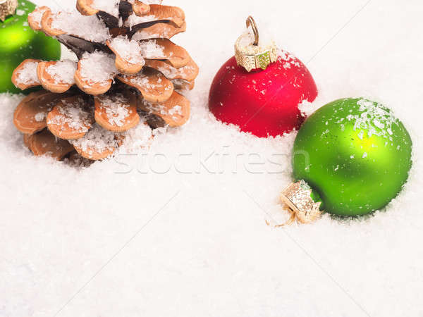 Christmas background with old baubles and pinecone Stock photo © andreasberheide