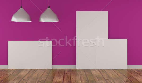 Stock fotó: Három · felfelé · poszter · rózsaszín · szoba · modern