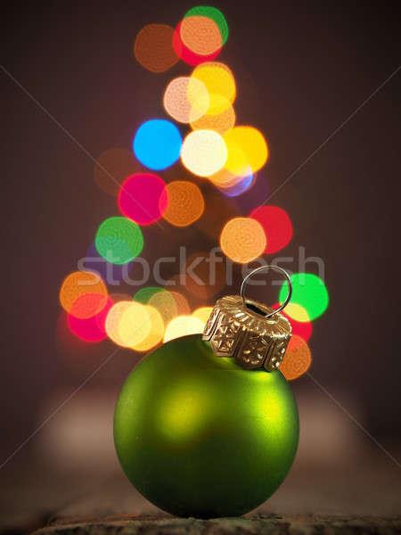 Noel yeşil önemsiz şey kırmızı ahşap masa Stok fotoğraf © andreasberheide