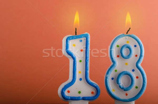 свечей числа восемнадцати пространстве текста Сток-фото © andreasberheide
