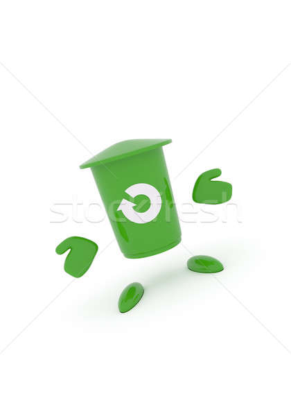 Stock photo: Green garbage bin on white