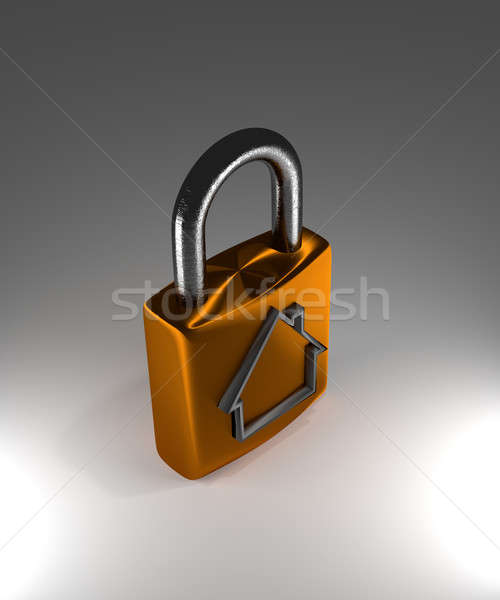 Cadenas maison forme 3D protection maison Photo stock © andreasberheide
