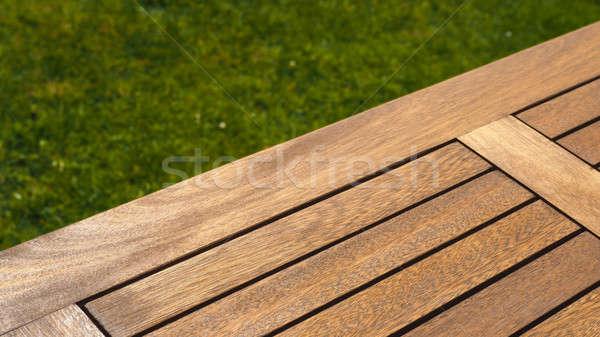 ストックフォト: 空っぽ · 木製のテーブル · 草 · 木製 · 庭園 · 表