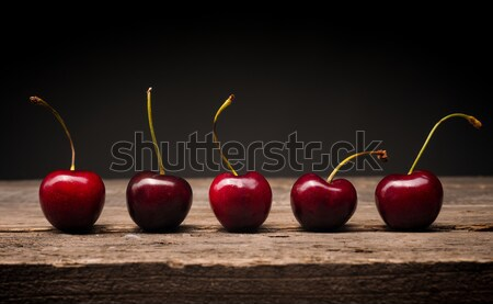 Five cherries in a row Stock photo © andreasberheide