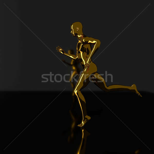 Dorado ejecutando hombre silueta 3D Foto stock © andreasberheide