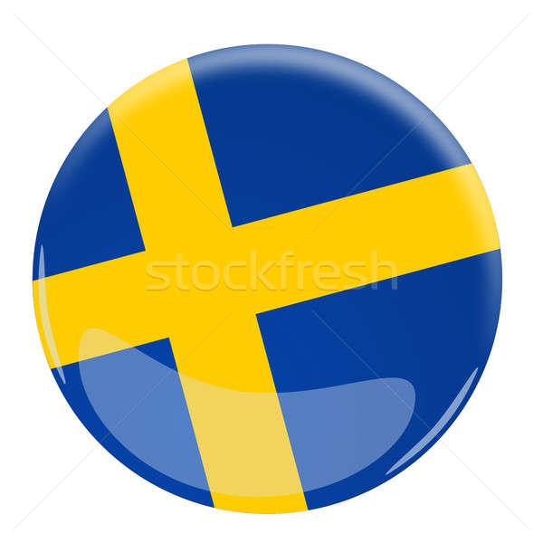 Lucido pulsante bandiera Svezia illustrazione blu Foto d'archivio © andreasberheide
