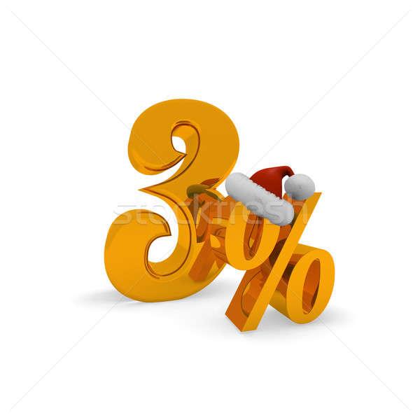 Karácsony árengedmény három százalék kalap mikulás Stock fotó © andreasberheide
