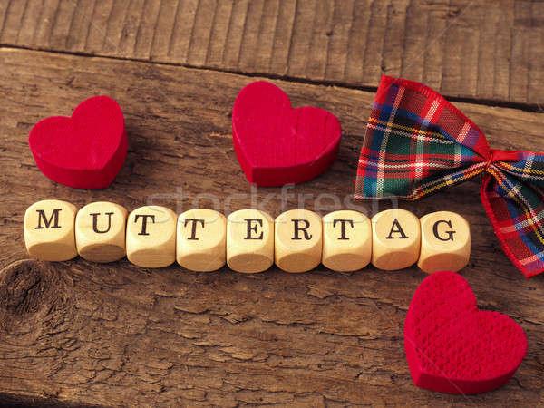 Anyák nap szó fából készült piros szív Stock fotó © andreasberheide