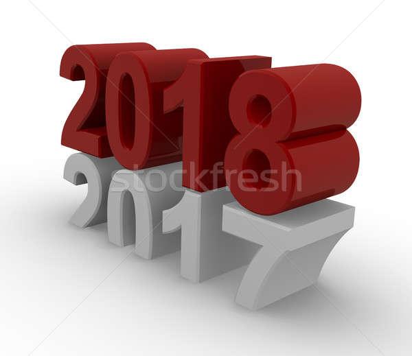 új év 3D kép fehér renderelt kép üzlet Stock fotó © andreasberheide