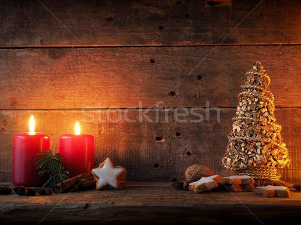 Romantikus karácsony csillag alakú fahéj sütik Stock fotó © andreasberheide