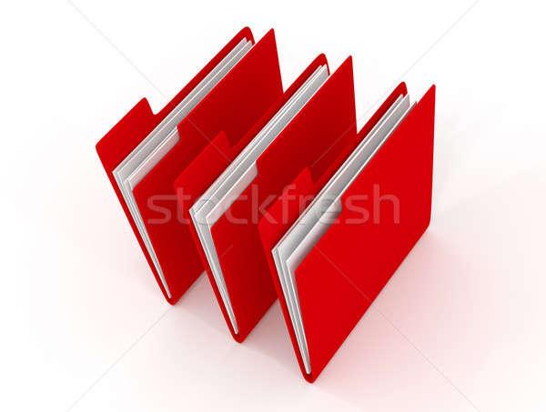 Három piros mappa 3D renderelt kép fehér Stock fotó © andreasberheide