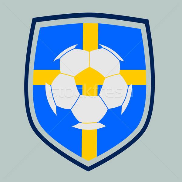 Piłka nożna etykiety Szwecja banderą projektu zespołu Zdjęcia stock © andreasberheide