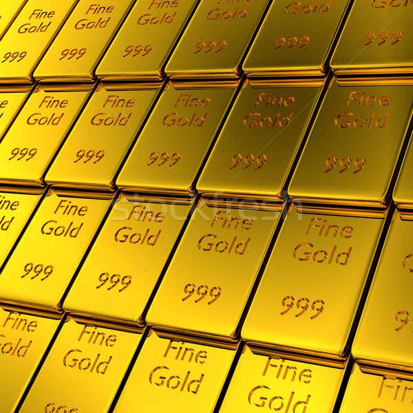 Egymásra pakolva arany rácsok 3D renderelt kép csetepaté Stock fotó © andreasberheide