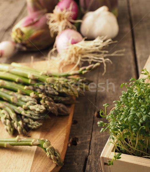 органический овощей деревянный стол здоровое питание деревенский Сток-фото © andreasberheide