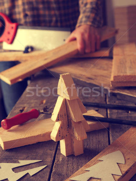 Making a wooden Christmas tree Stock photo © andreasberheide