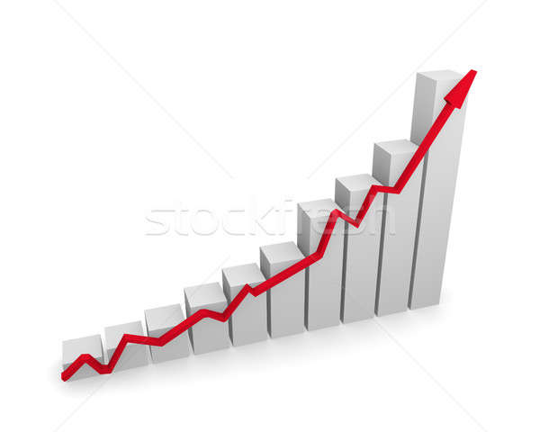 Business graph with red upswing arrow Stock photo © andreasberheide