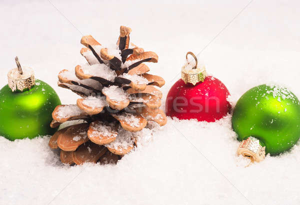 Vintage Christmas baubles in snow Stock photo © andreasberheide