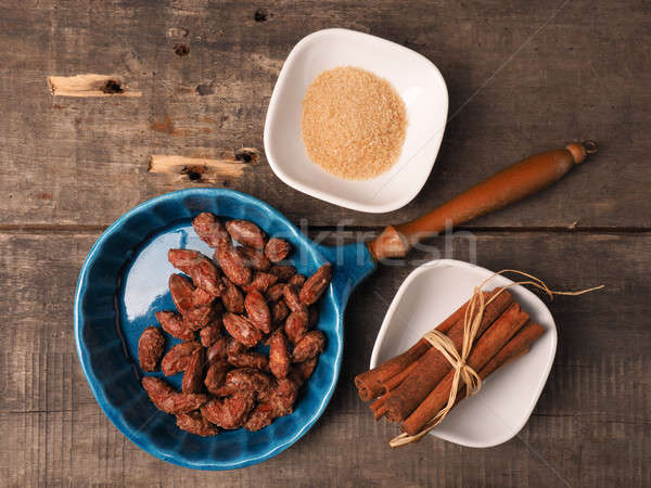 Sweet roasted almonds Stock photo © andreasberheide