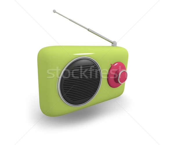 Green vintage style radio, 3d illustration Stock photo © andreasberheide