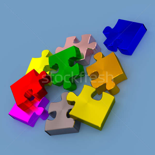 Stock photo: Colorful pieces of puzzle, 3d rendering