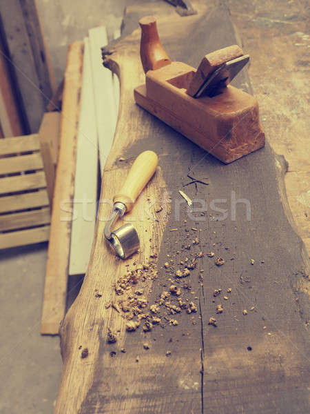 Carpenter tools on a wooden workbench Stock photo © andreasberheide