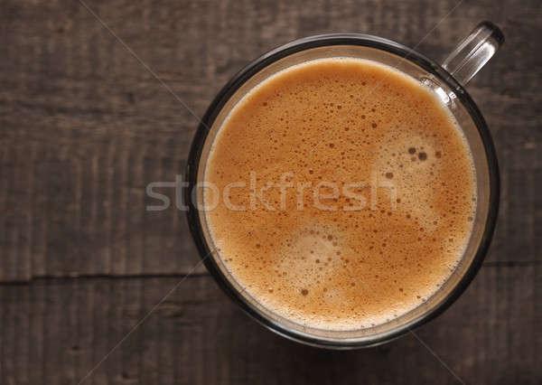 Finom csésze kávé rusztikus fa asztal fény Stock fotó © andreasberheide