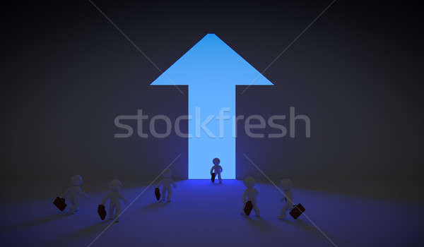 Arrow shaped door with blue light Stock photo © andreasberheide