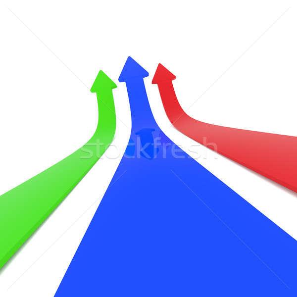 Colorful upswing arrows on white Stock photo © andreasberheide