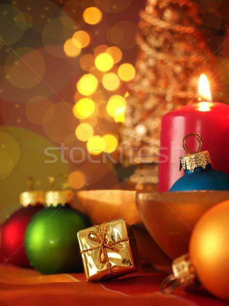 Colorido natal decoração foco dourado caixa de presente Foto stock © andreasberheide
