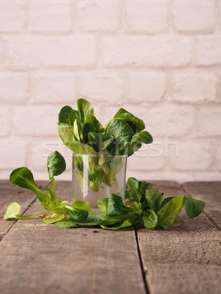 Vers organisch tabel glas rustiek houten Stockfoto © andreasberheide