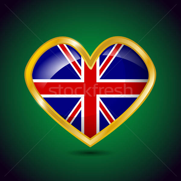 Golden heart shape with the flag of Great Britain Stock photo © andreasberheide