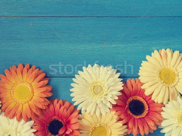 Renkli çiçek dekorasyon ahşap mavi ahşap Stok fotoğraf © andreasberheide