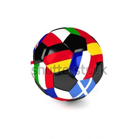 Foto stock: Balón · de · fútbol · banderas · fútbol · competencia · diferente · mundo