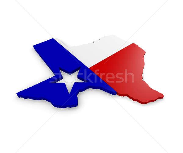 3D térkép Texas fehér zászló sziluett Stock fotó © andreasberheide