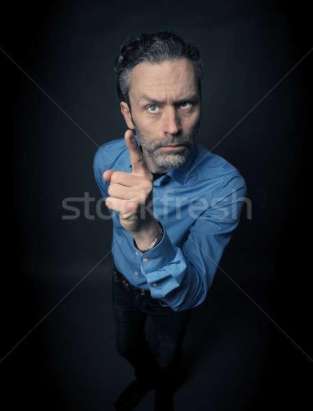 Crazy деловой человек темно служба лице стены Сток-фото © andreasberheide