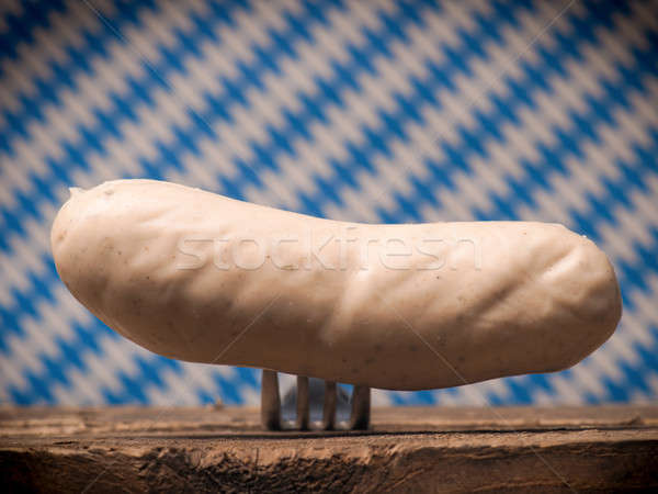 Bavarian veal sausage on a fork Stock photo © andreasberheide