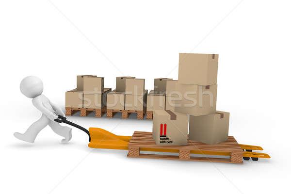Stockfoto: Dienst · 3D · werknemer · winkelwagen