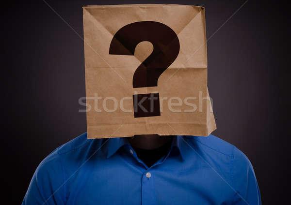Zakenman vraagteken business papier man zak Stockfoto © andreasberheide