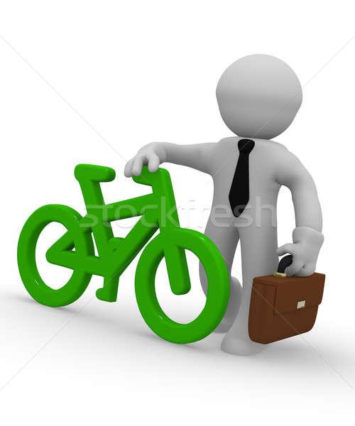 üzletember zöld bicikli ikon 3D renderelt kép Stock fotó © andreasberheide