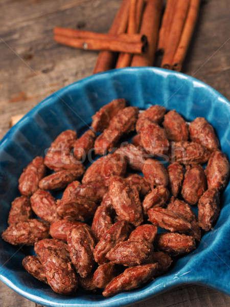 édes pörkölt mandulák ízletes kék kerámia Stock fotó © andreasberheide