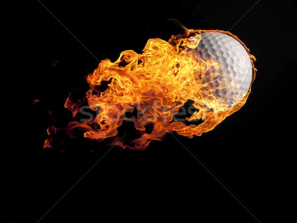 Golf ball with flames on black Stock photo © andreasberheide