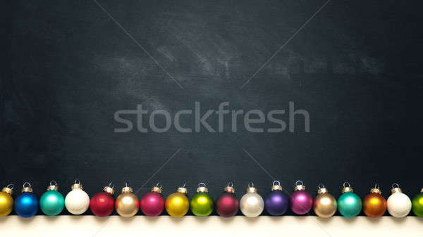 Colorful vintage Christmas baubles on chalkboard Stock photo © andreasberheide