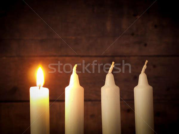 Aufkommen Kerzen Holz rustikal Weihnachten Raum Stock foto © andreasberheide