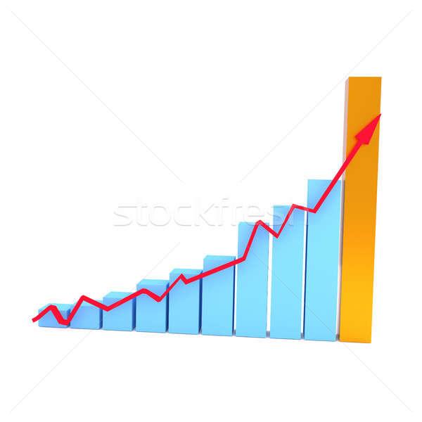 Blue business graph with an upswing arrow Stock photo © andreasberheide